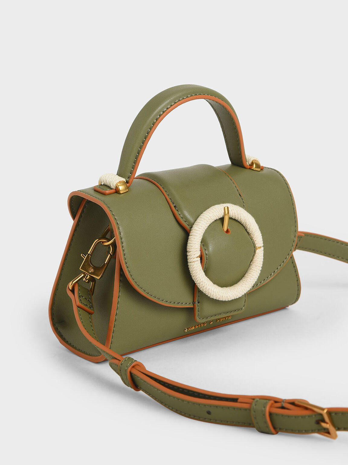 Woven Buckle Top Handle Bag, Olive, hi-res