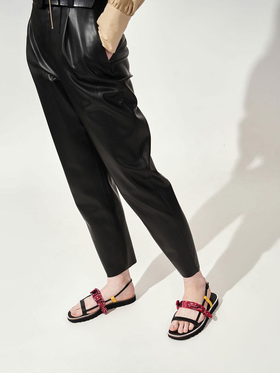 Summer 2020 Responsible Collection: Bandana Print Tie Flatforms, Red, hi-res