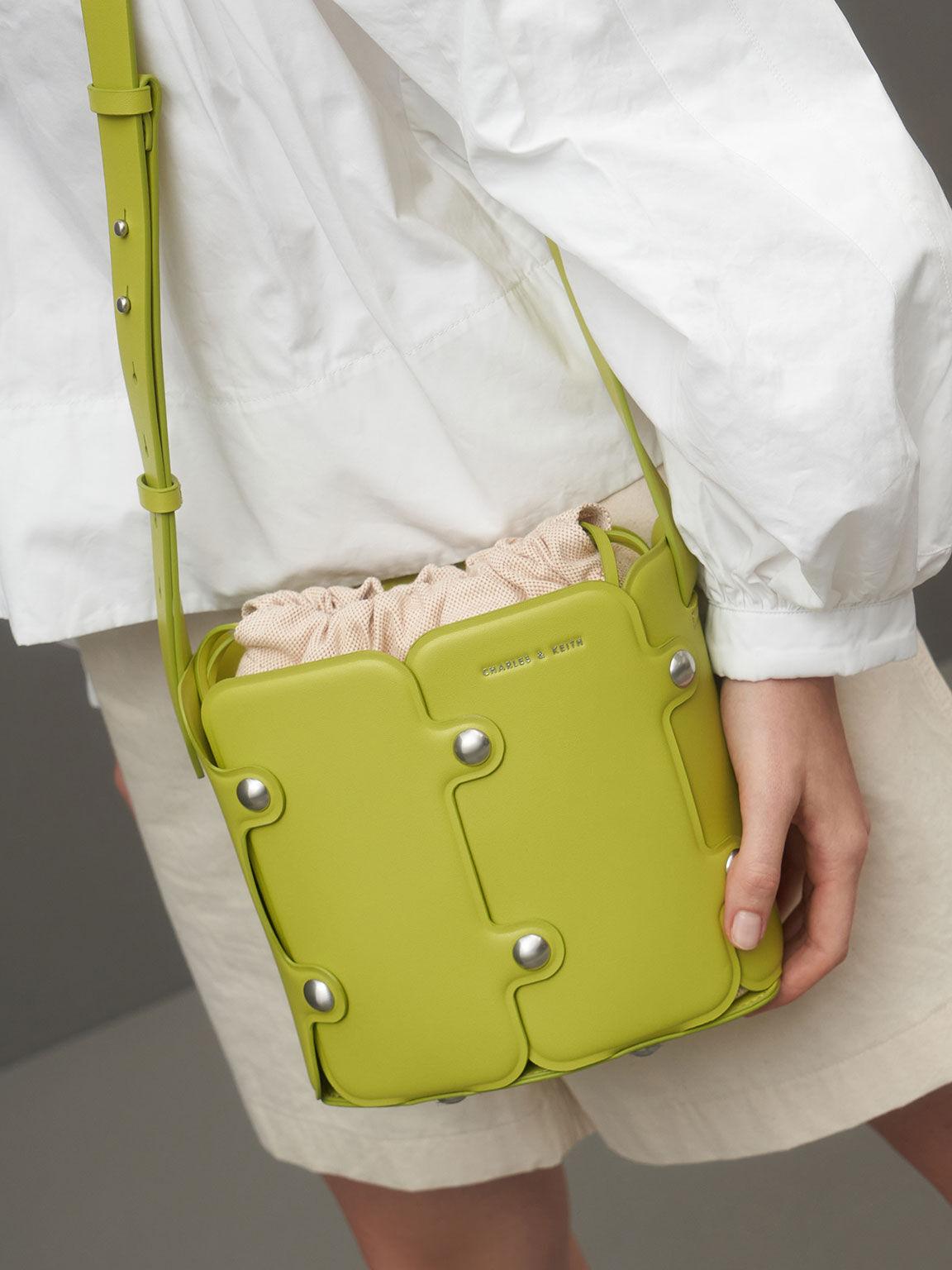 Studded Drawstring Bucket Bag, Lime, hi-res