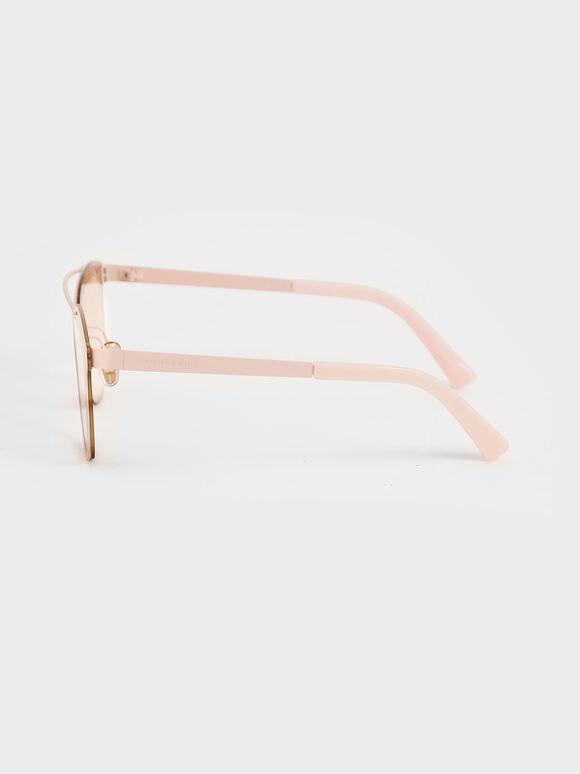Metal Frame Sunglasses, Pink, hi-res