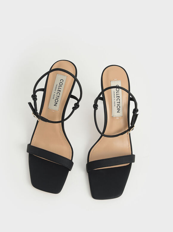 Leather Knotted Heeled Sandals, Black, hi-res