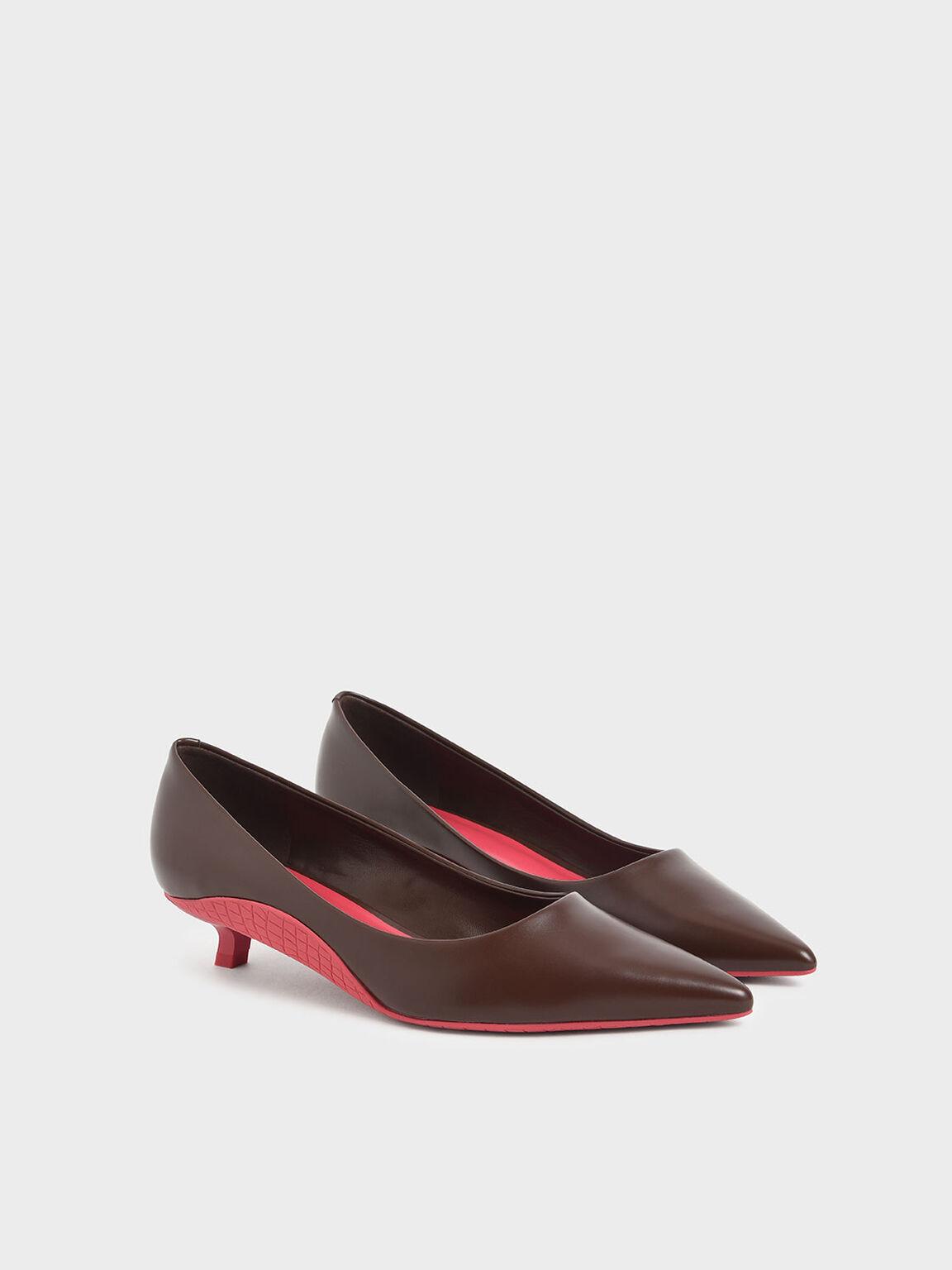 Two-Tone Kitten Heel Pumps, Dark Brown, hi-res