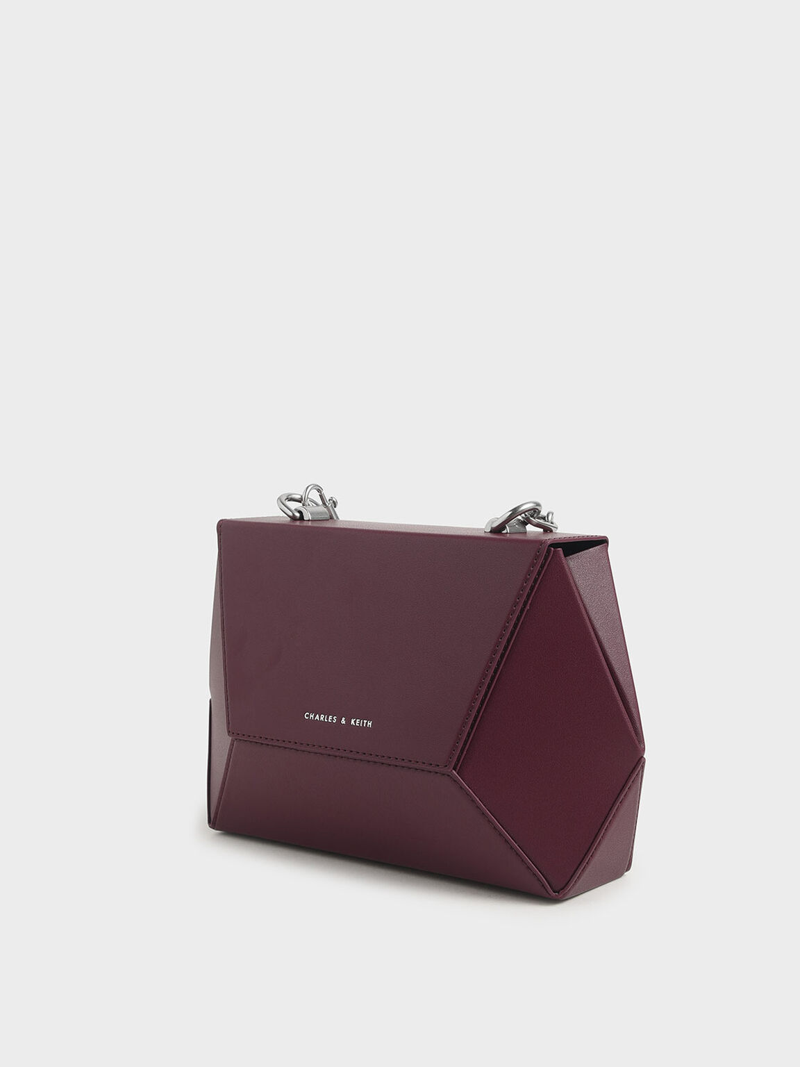 Thin Chain Handle Hexagon Crossbody Bag, Burgundy, hi-res