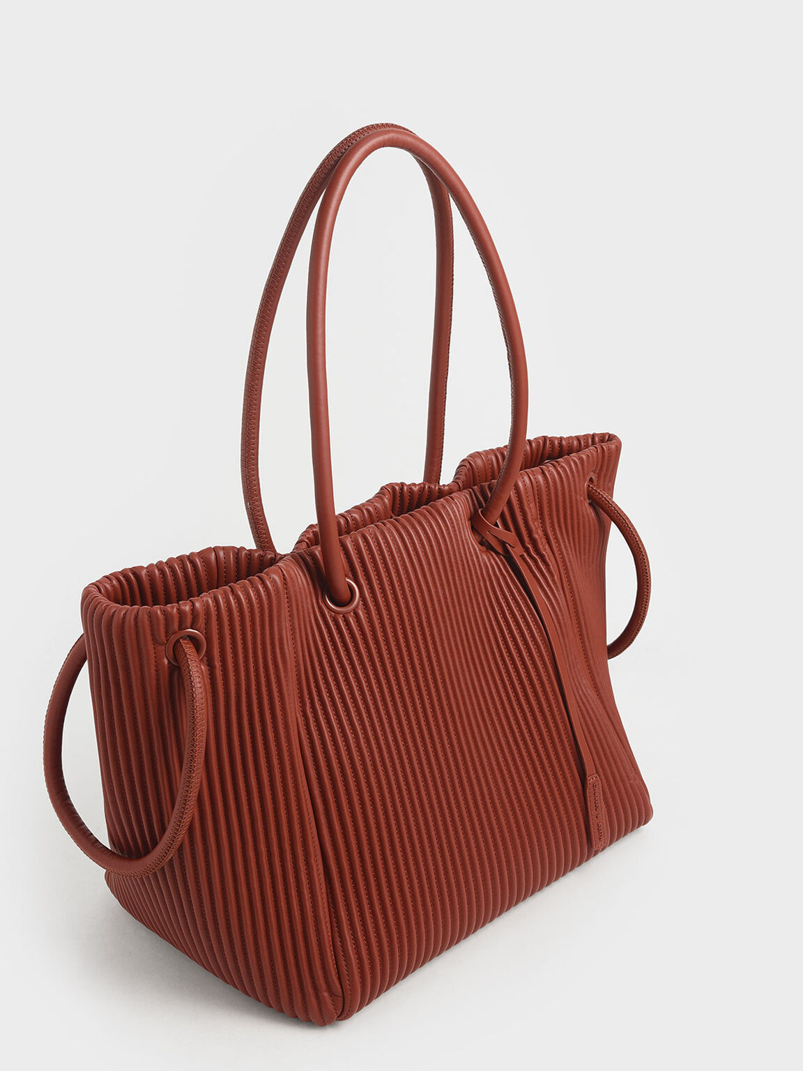 Textured Drawstring Tote Bag, Clay, hi-res