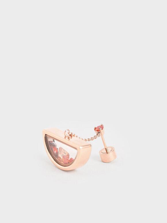 Semi-Circle Floating Locket Drop Earrings, Rose Gold, hi-res