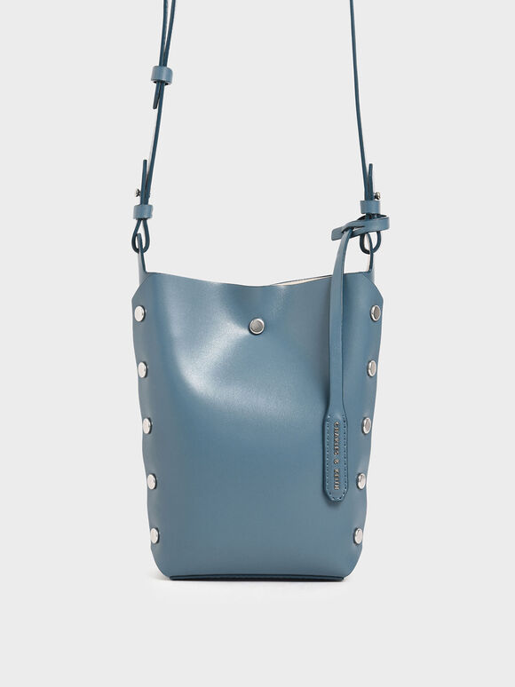 Mini Reversible Studded Crossbody Bag, Blue, hi-res