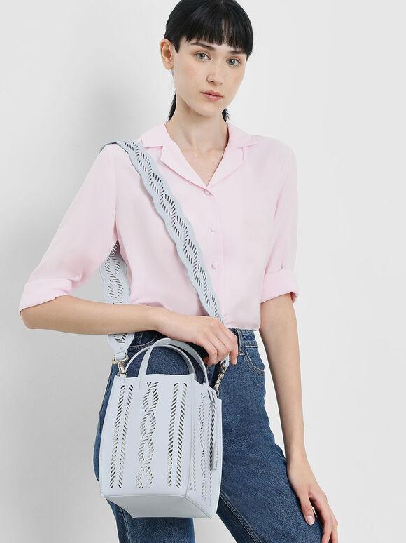 Laser Cut Bag Strap, Light Blue, hi-res