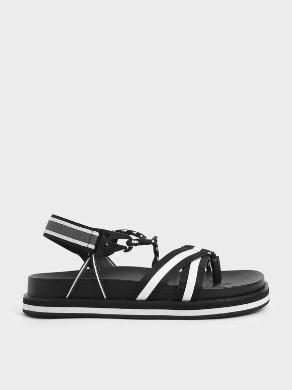 Two-Tone Grosgrain & Rope Flatform Sandals, Black, hi-res