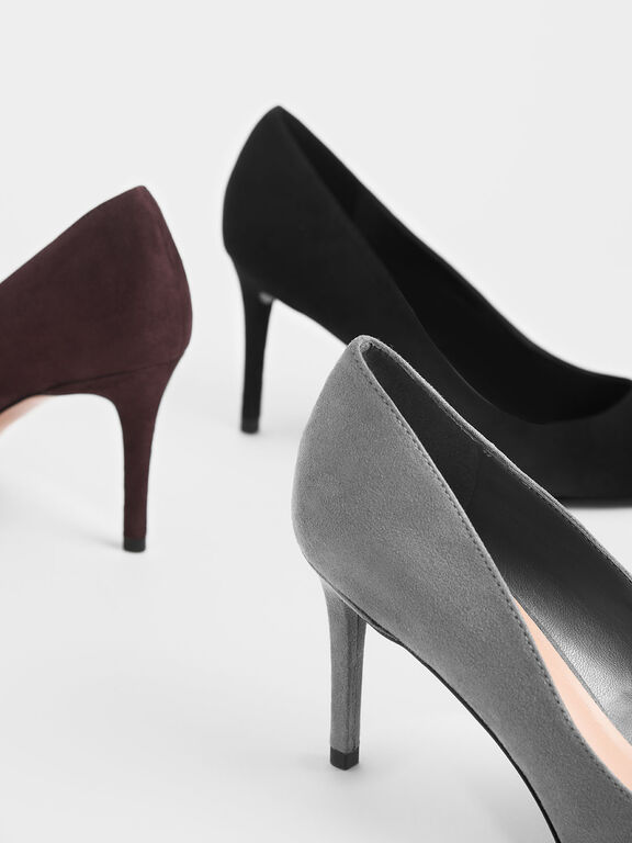 Classic Textured Pointed Toe Pumps, Grey