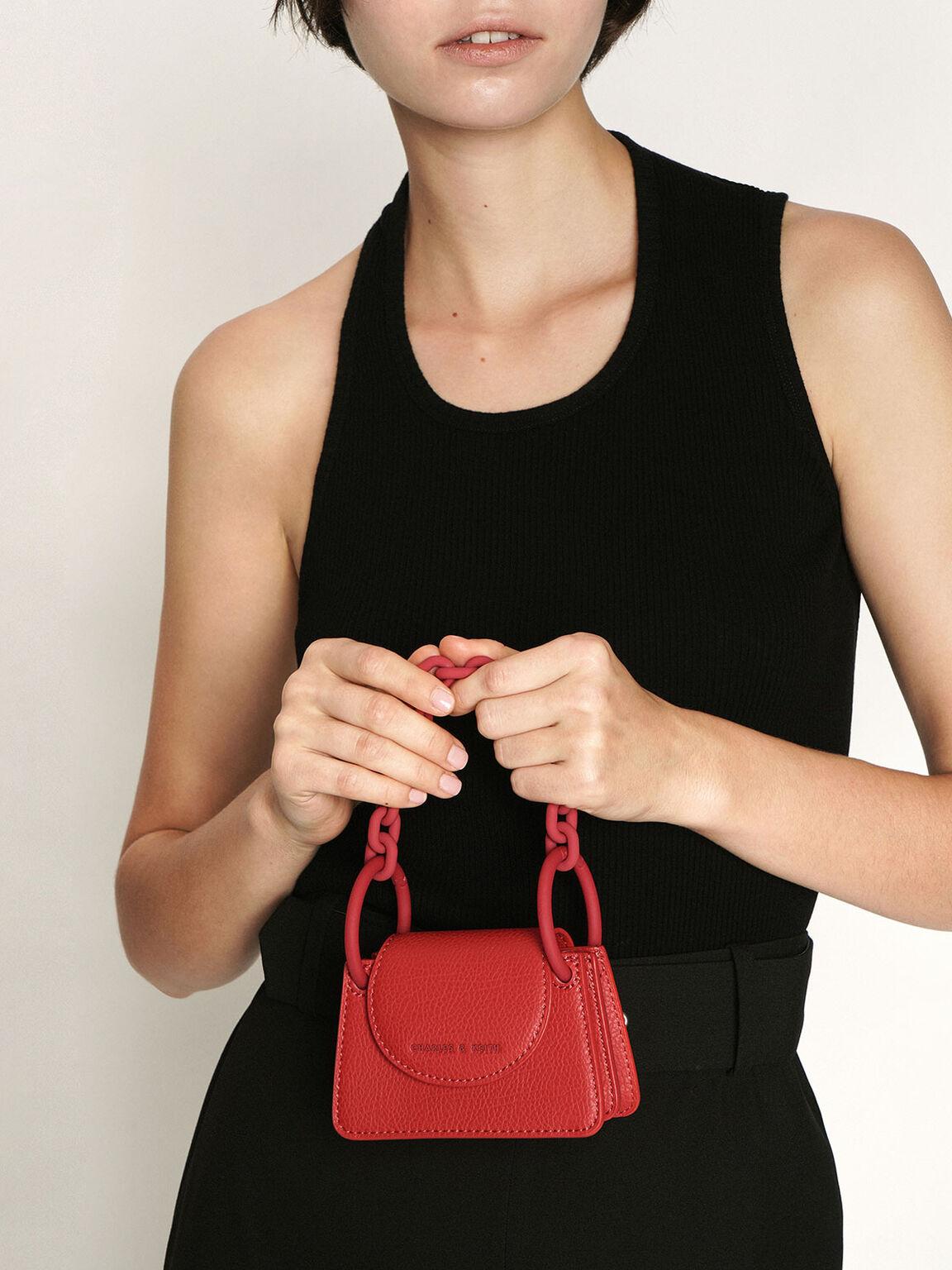 Chunky Chain Handle Mini Bag, Red, hi-res