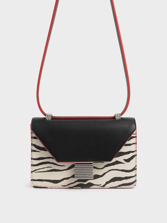 Velvet White Tiger Print Crossbody Bag, Multi, hi-res