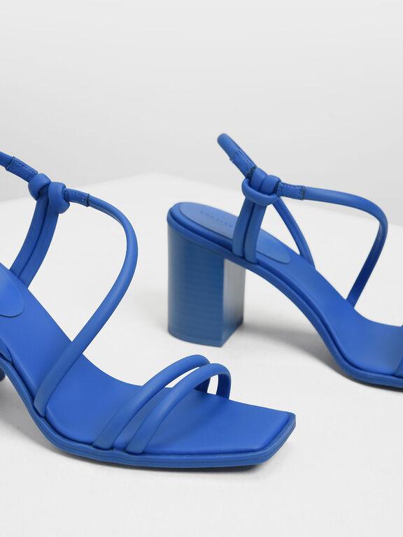 Asymmetrical Strappy Block Heels, Blue