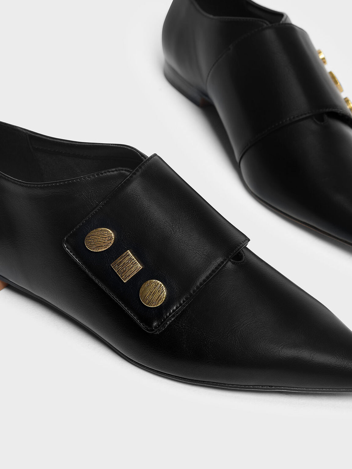 Vintage Button Detail Pointed Flats, Black, hi-res