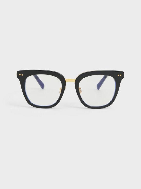 Acetate Square Sunglasses, Black, hi-res