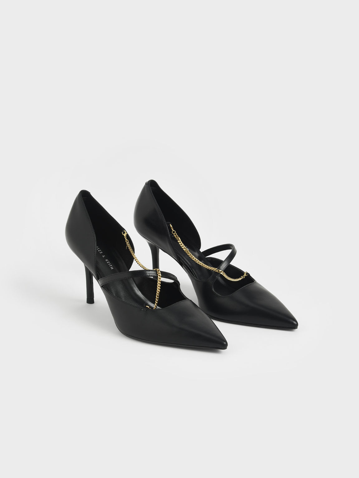 金屬鍊高跟鞋, 黑色, hi-res