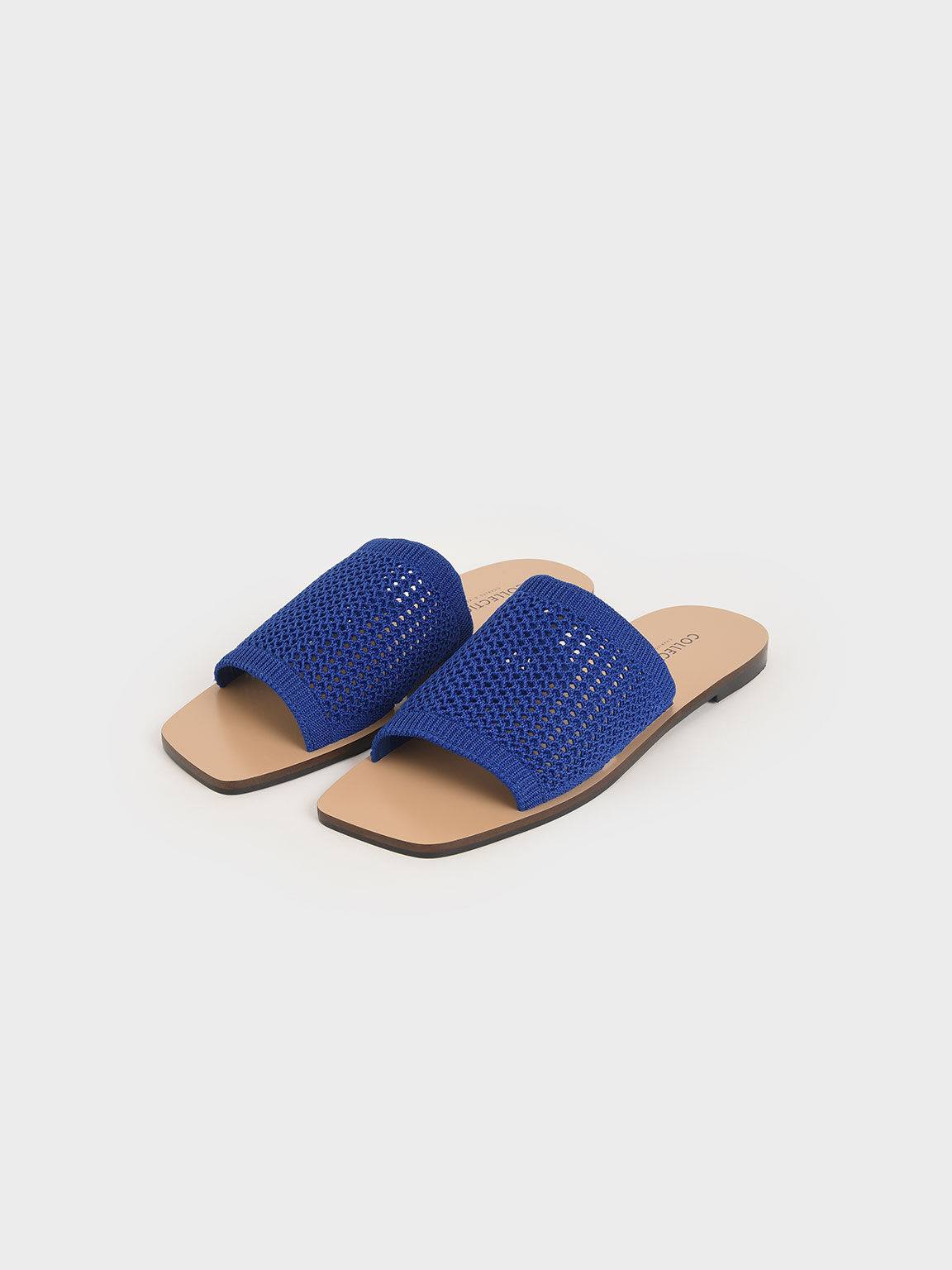 Knitted Asymmetric Slides, Blue, hi-res