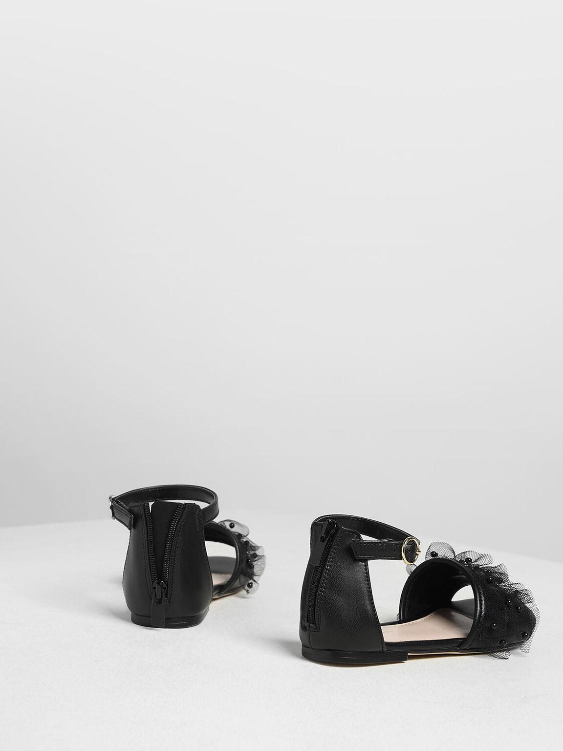 Kids' Lace & Beads Trimmed Sandals, Black, hi-res