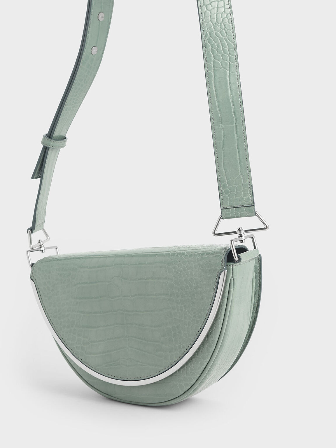 Croc-Effect Semi-Circle Crossbody Bag, Sage Green, hi-res