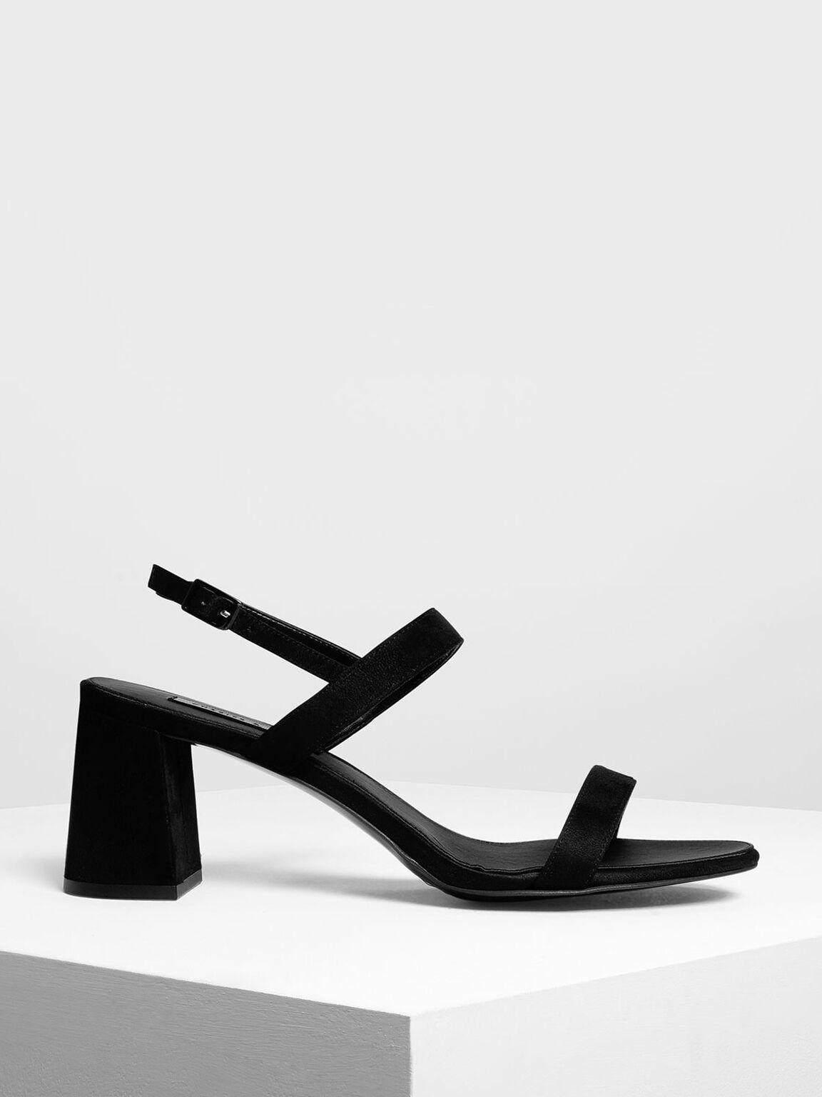 Flare Block Heel Sandals, Black, hi-res