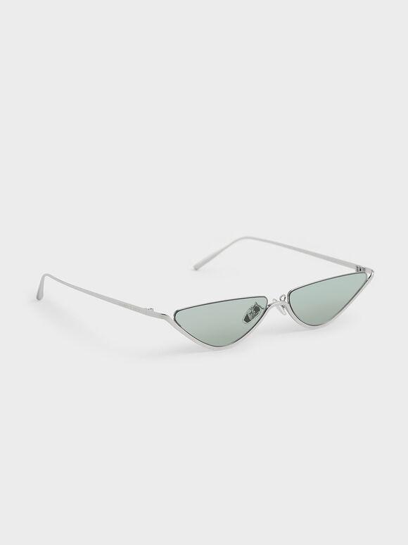 Thin Metal Frame Cat-Eye Sunglasses, Green, hi-res