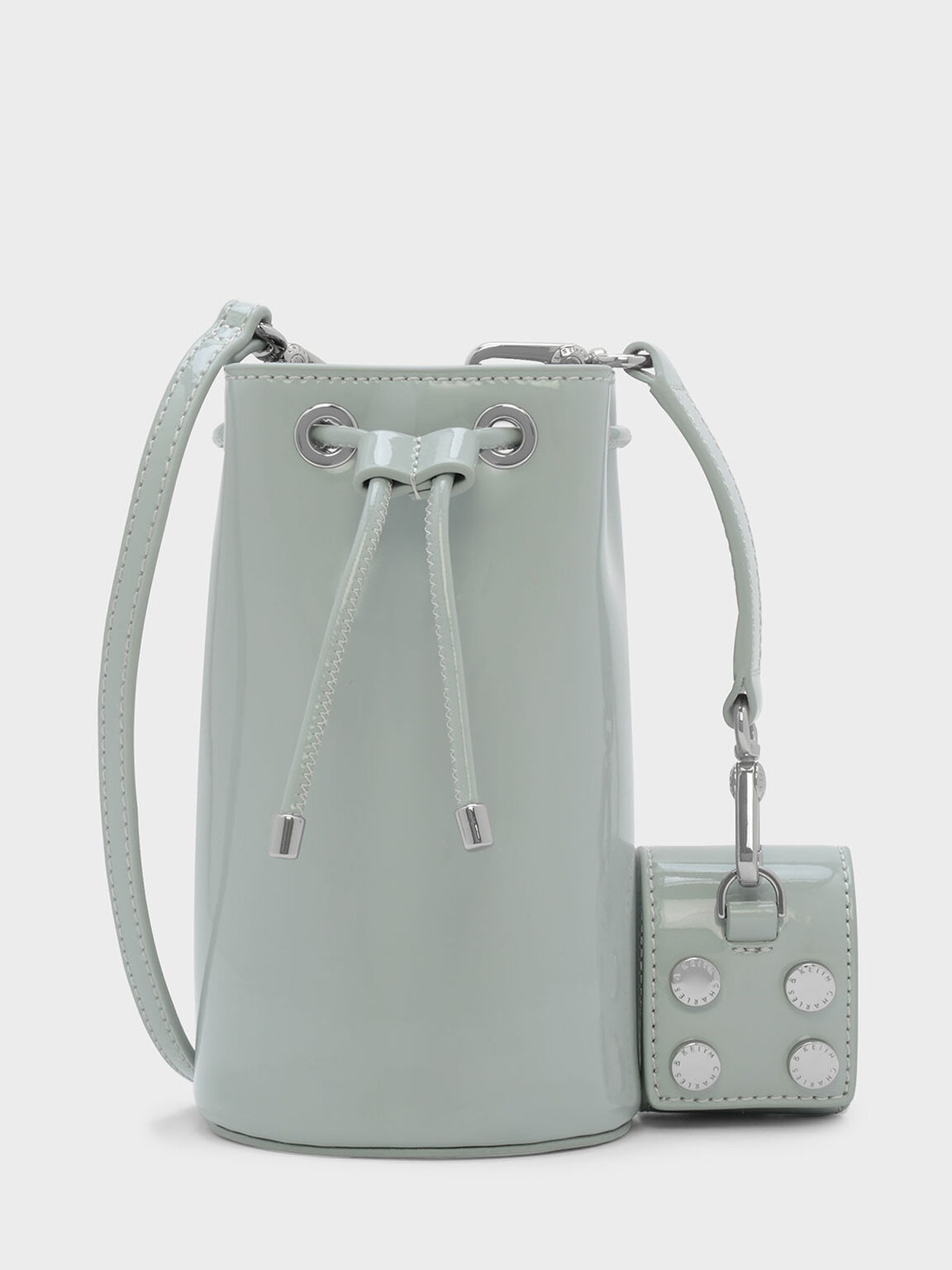 Textured Drawstring Bag, Green, hi-res