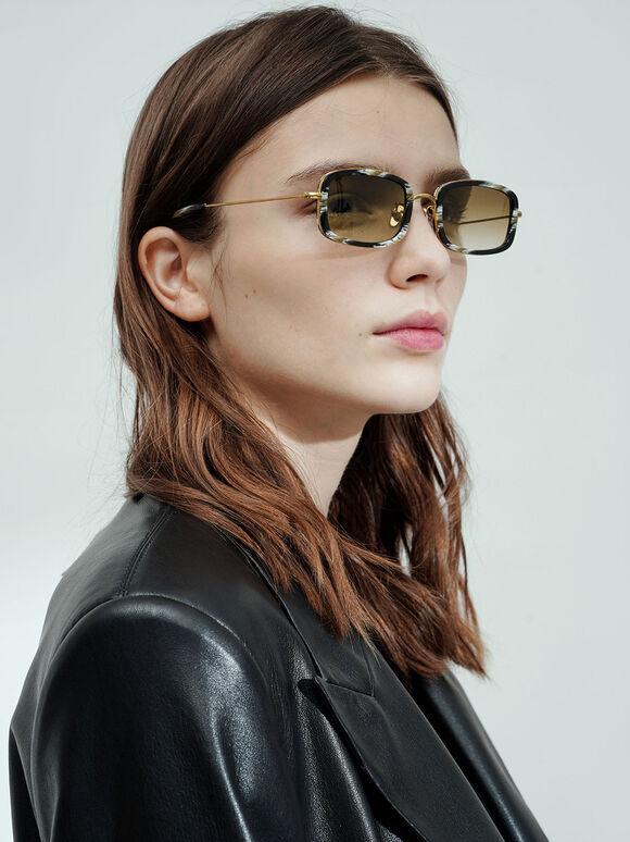 Rectangle Frame Acetate Sunglasses, Multi, hi-res
