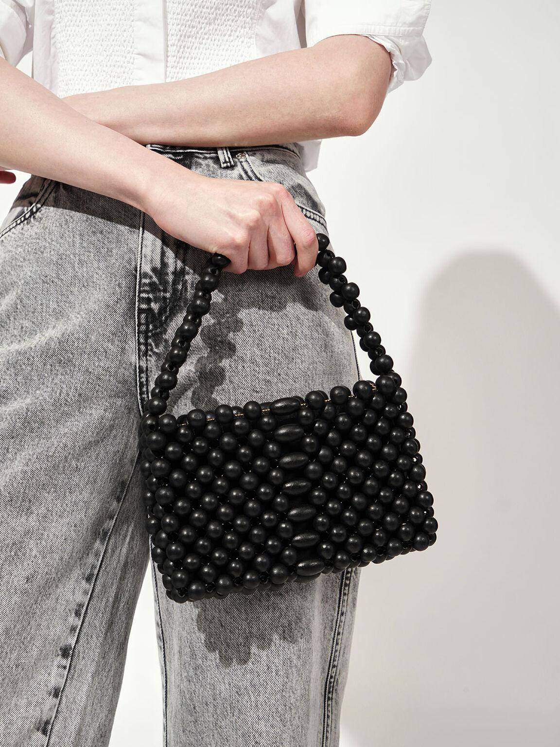 Mini Beaded Bag, Black, hi-res