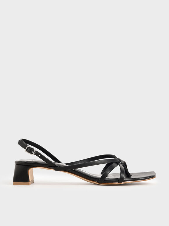 Strappy Sandals, Black, hi-res
