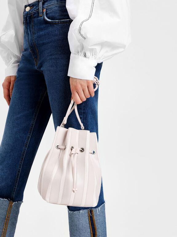 Panel Detail Drawstring Bag, Light Pink