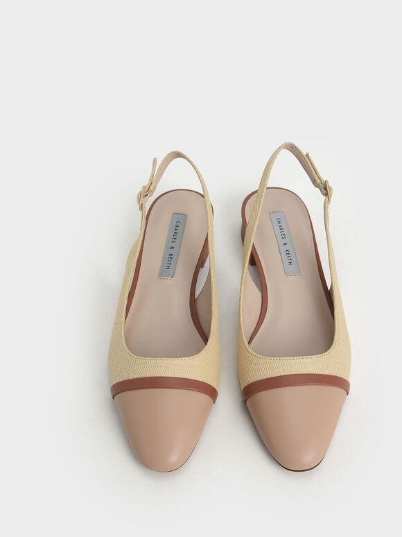 Raffia Slingback Ballerinas, Sand, hi-res