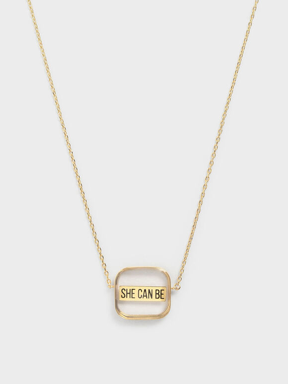 """""""She Can Be"""" Necklace, Gold, hi-res"""