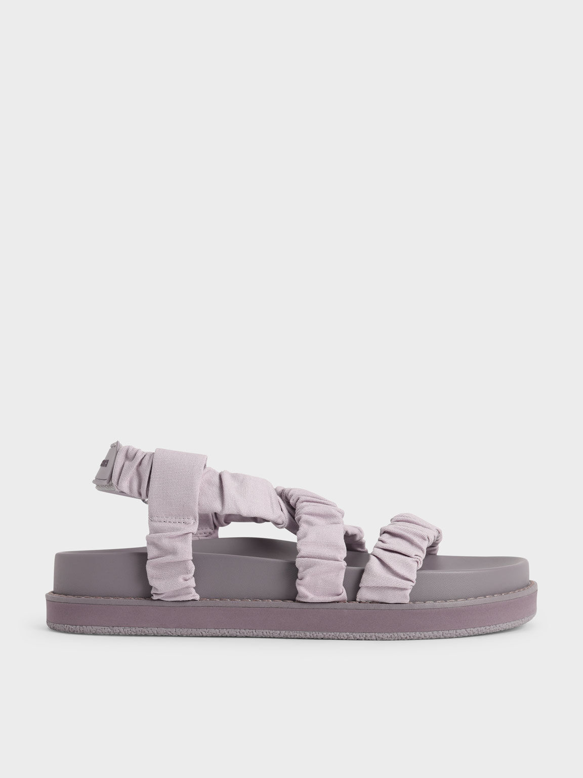 Canvas Ruched Crossover Sandals, Lilac, hi-res