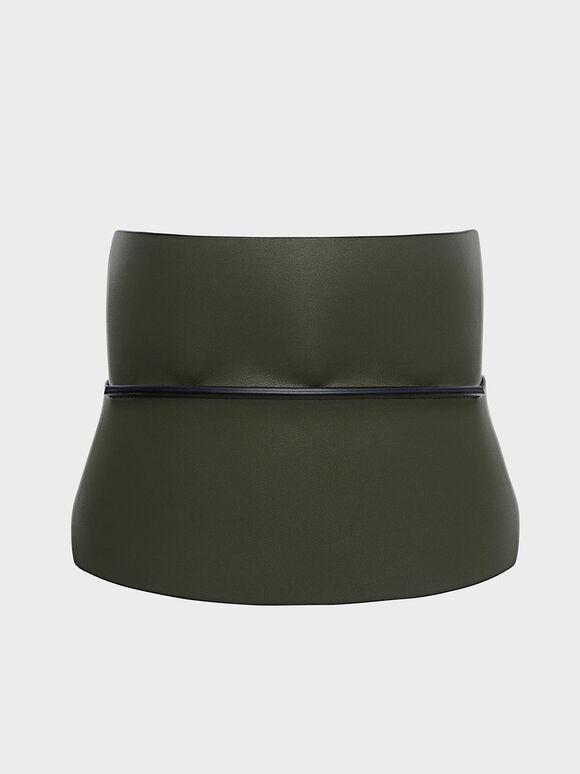 Wide Waist Belt, Olive, hi-res
