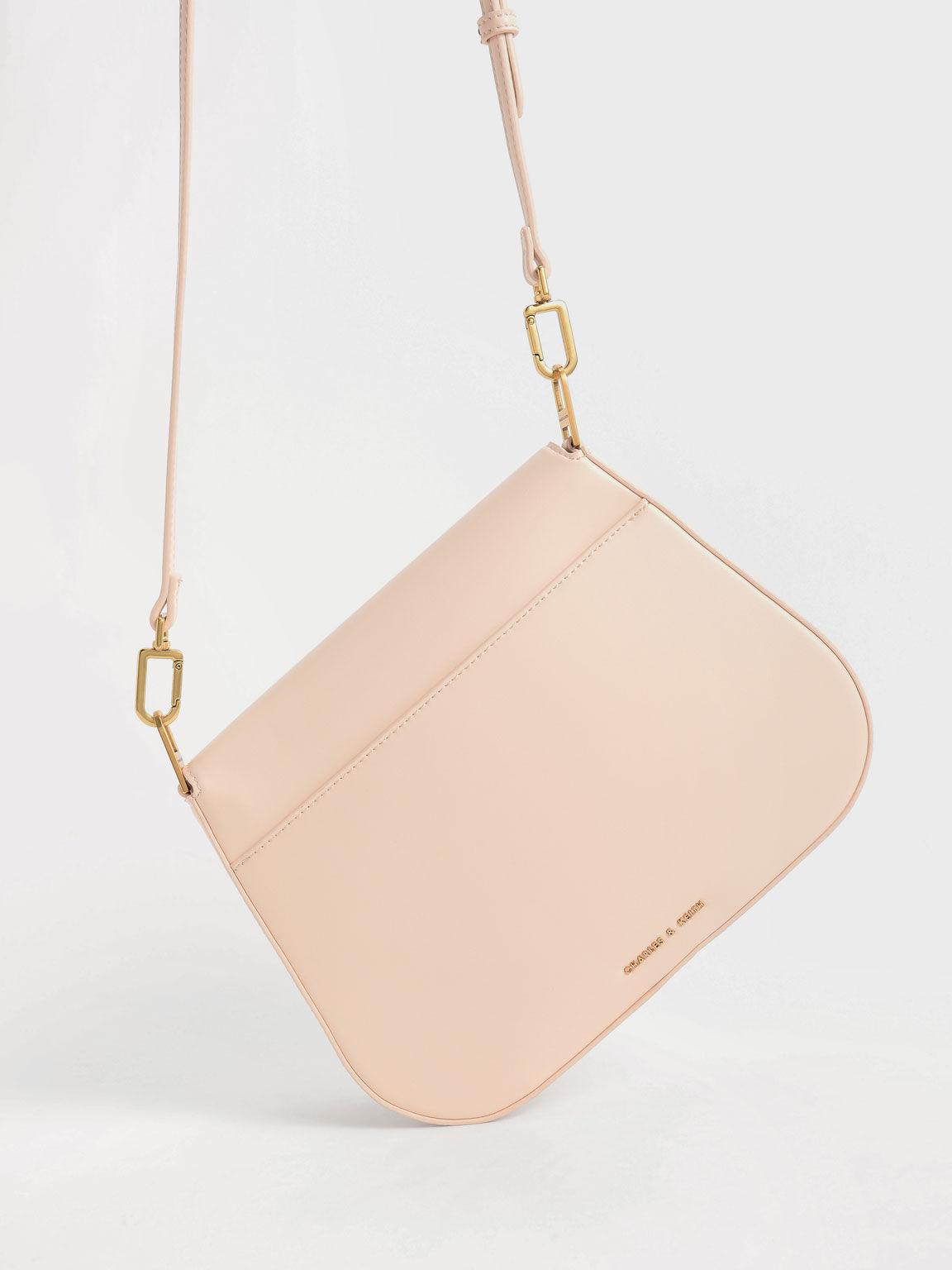 Metallic Accent Shoulder Bag, Light Pink, hi-res