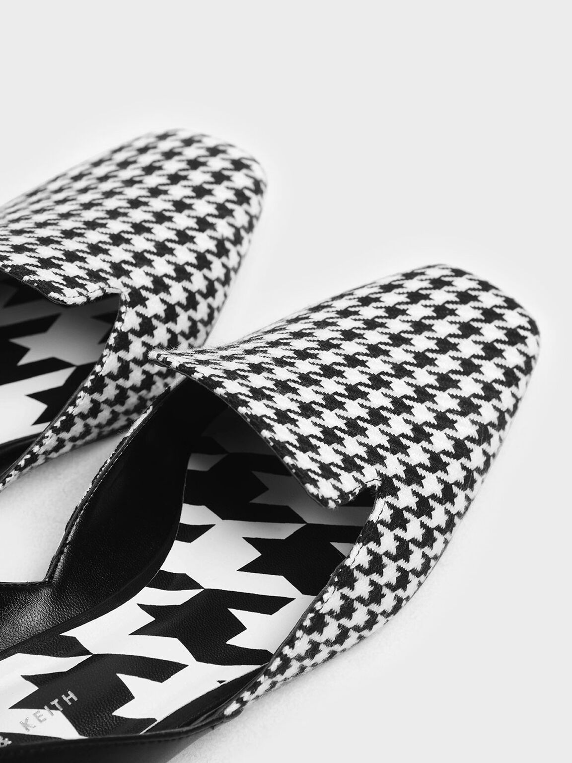 Houndstooth Print Woven Fabric D'Orsay Loafers, Multi, hi-res