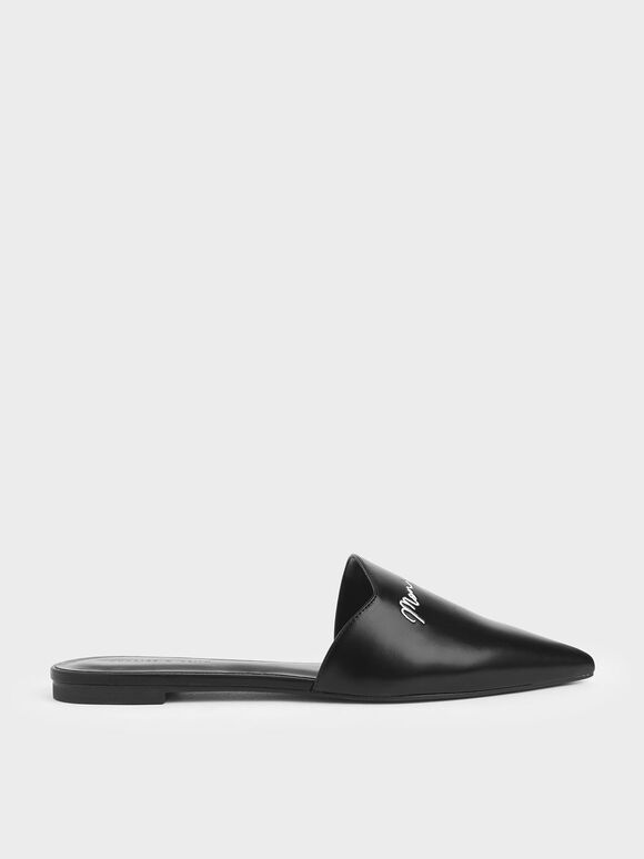 Embroidered Pointed Mules, Black, hi-res