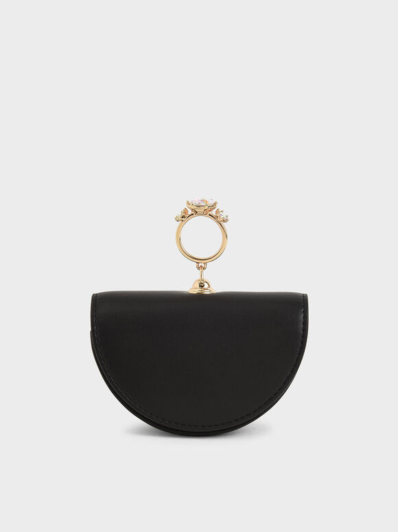Embellished Semi-Circle Pouch, Black, hi-res