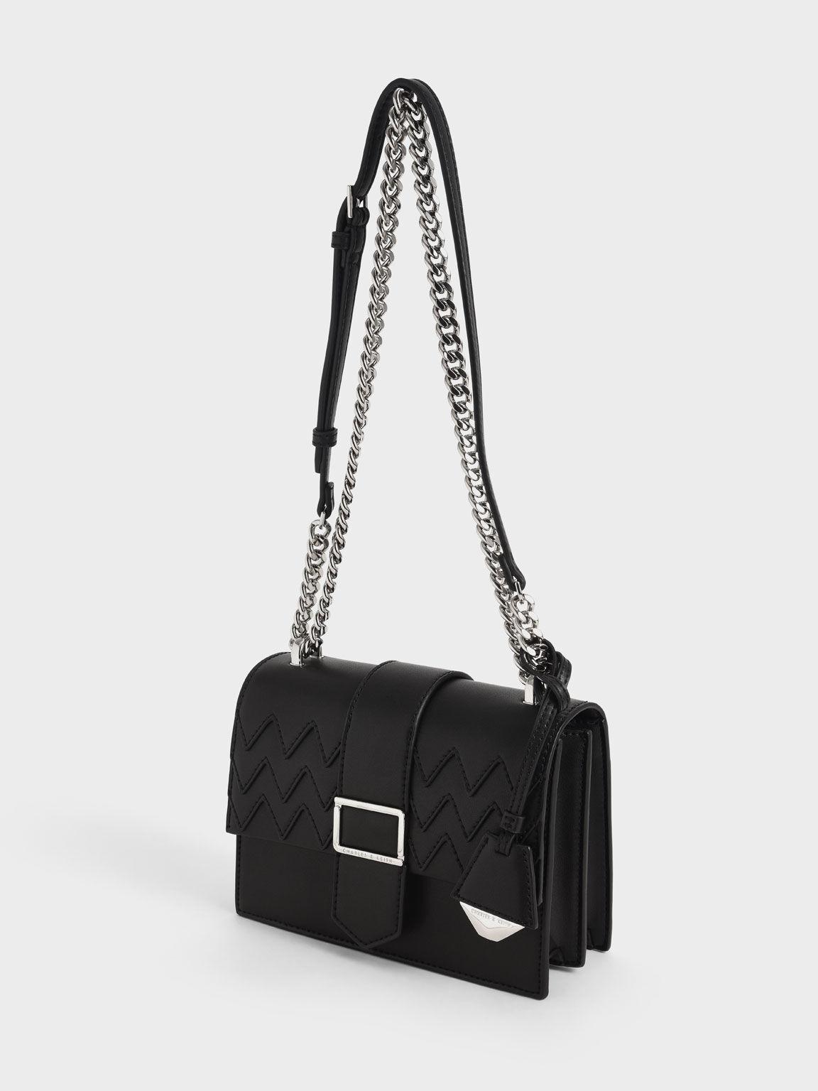 Metallic Buckle Sling Bag, Black, hi-res