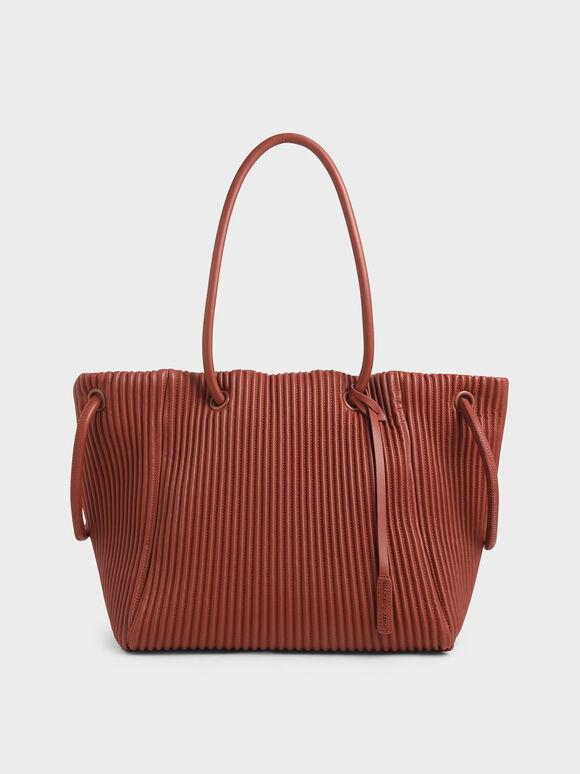 Textured Drawstring Tote Bag, Clay, hi-res