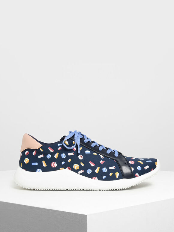 Geometric Print Fabric Sneakers, Dark Blue, hi-res