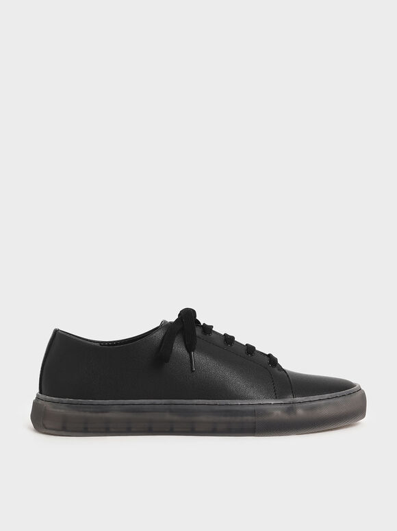 Clear Sole Sneakers, Black, hi-res