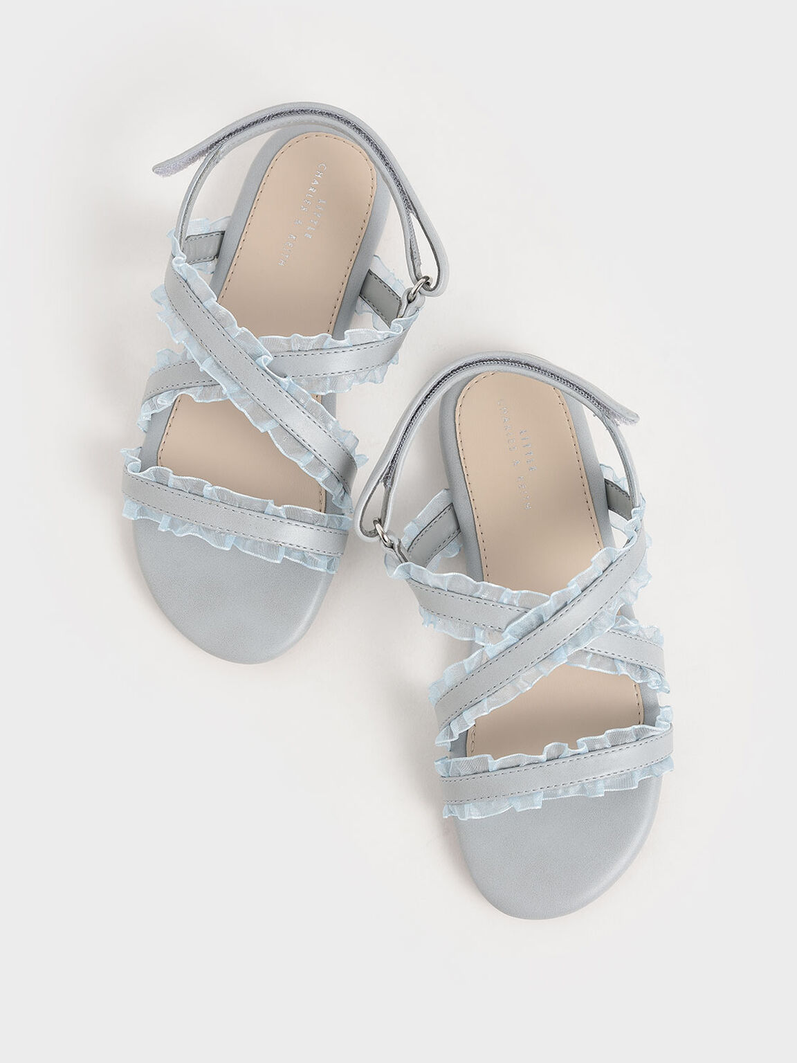 Girls' Frill-Trim Flat Sandals, Light Blue, hi-res