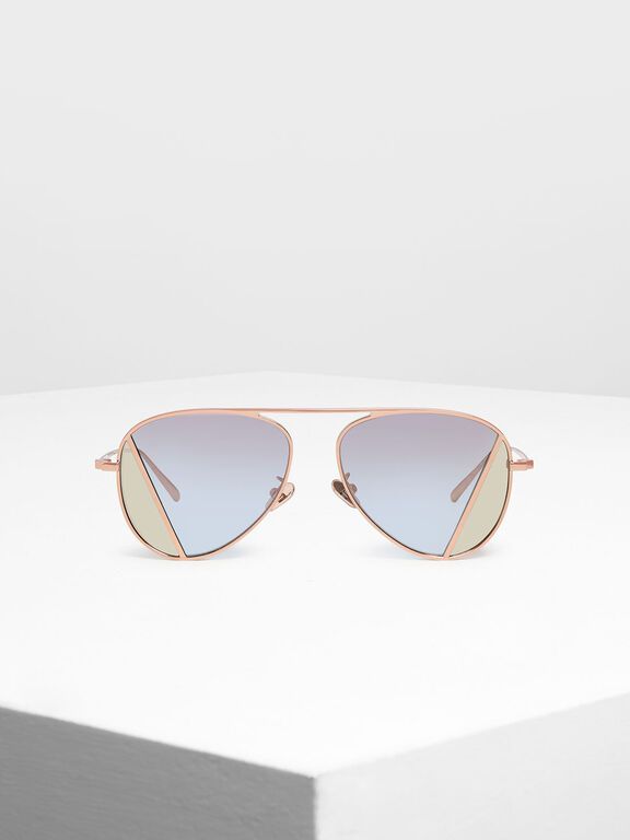 Two-Tone Aviator Sunglasses, Rose Gold