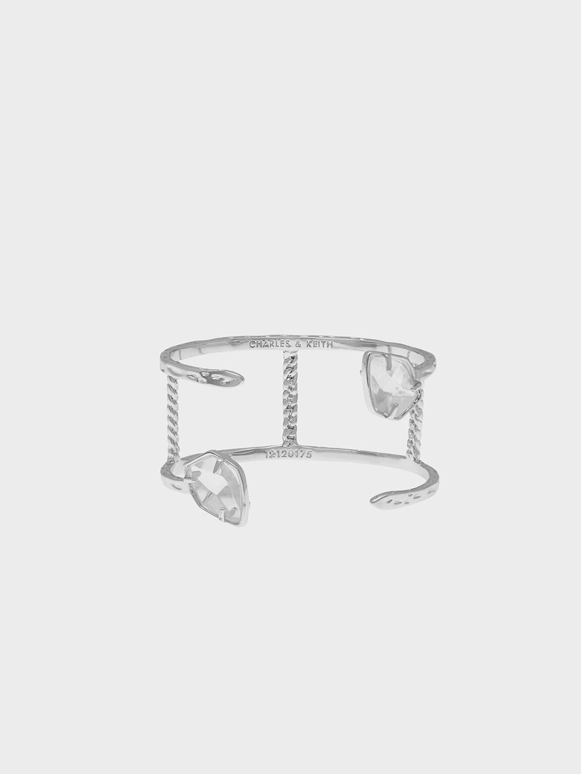 Semi-Precious Stone Bangle, Silver, hi-res