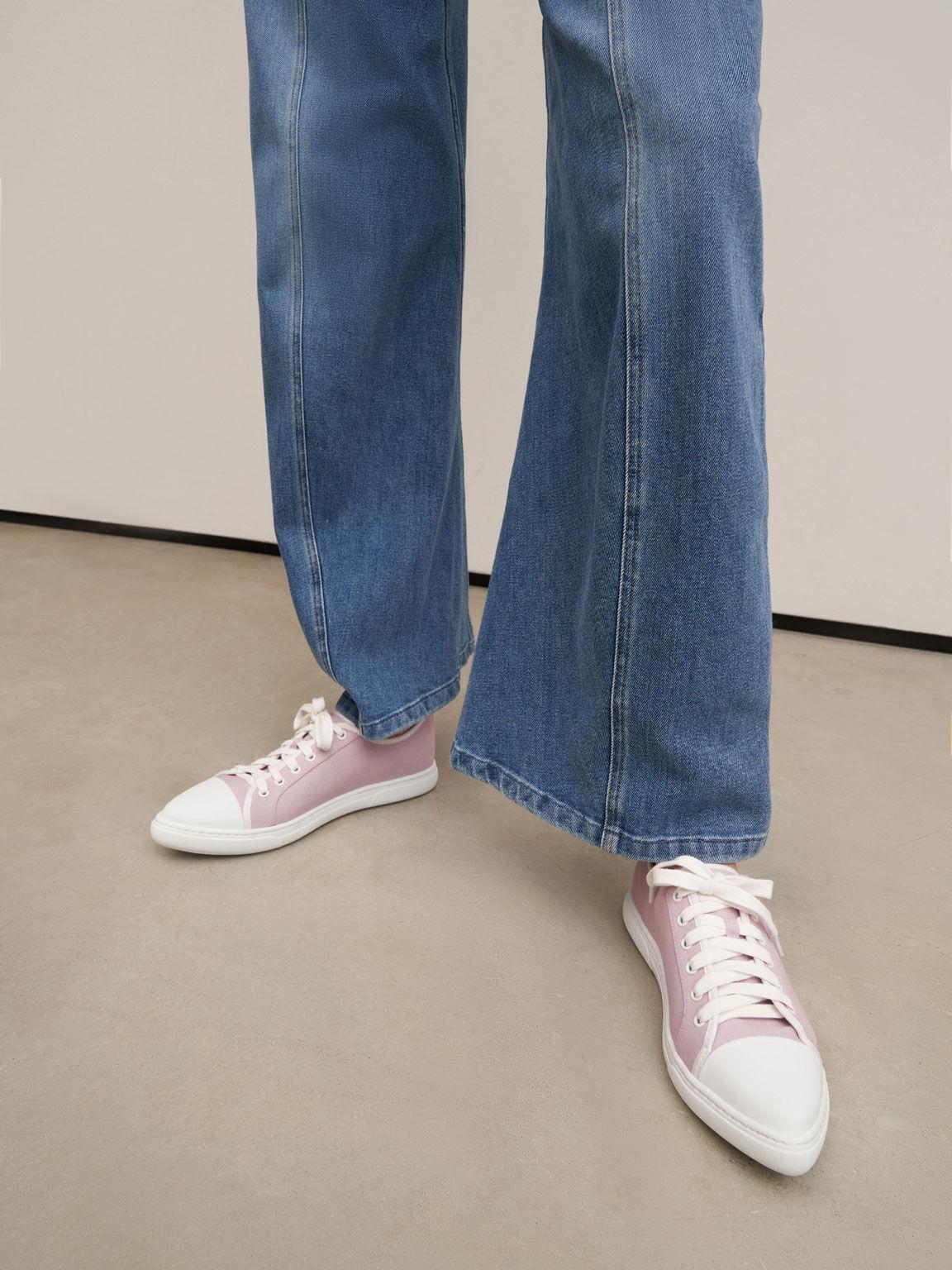 再生棉尖頭休閒鞋, 紫丁香色, hi-res