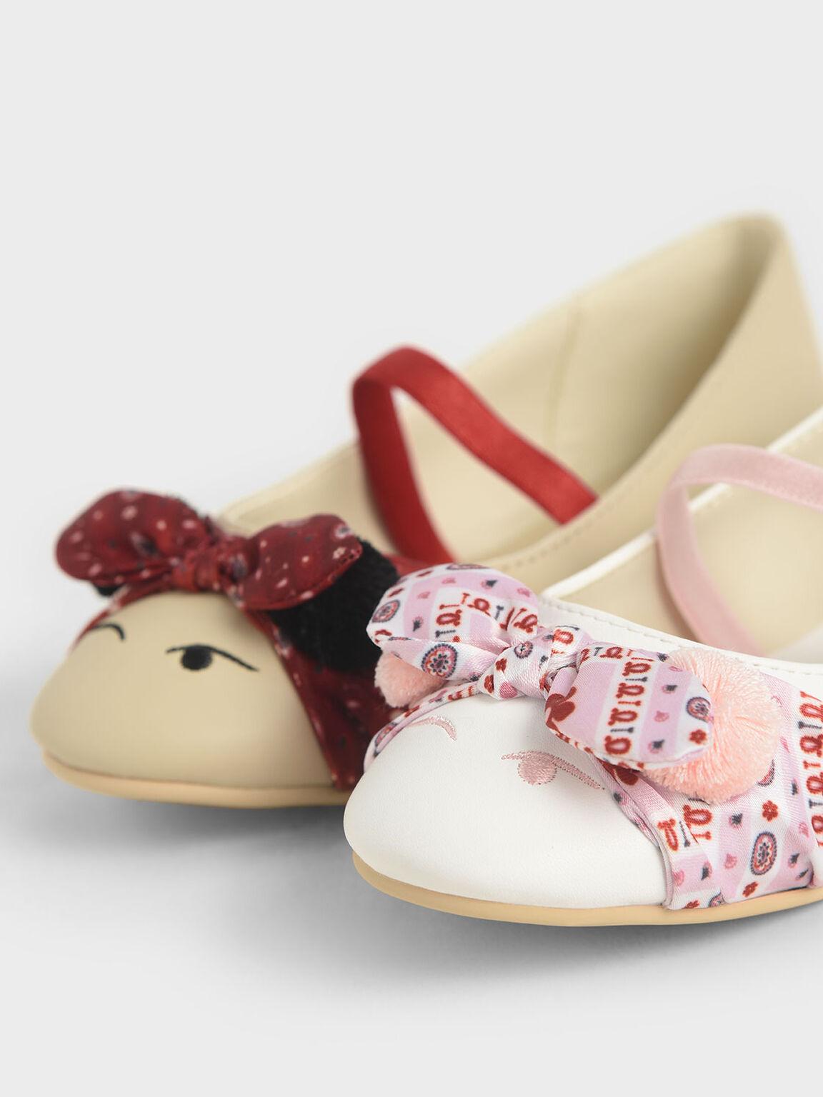 Summer 2020 Responsible Collection: Girls' Bandana Print Bow Ballerinas, Taupe, hi-res