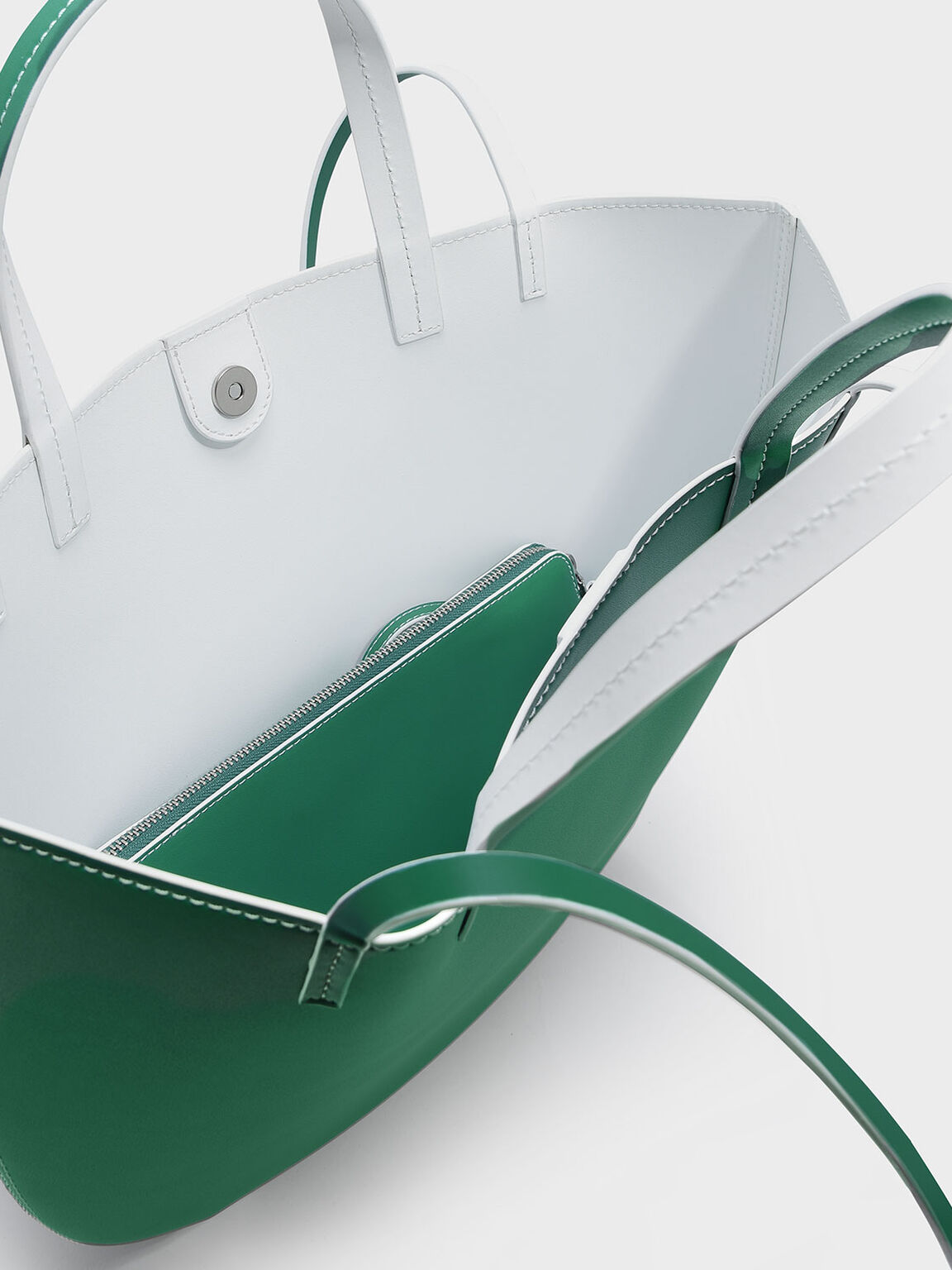 Round Edge Oversized Tote, Green, hi-res