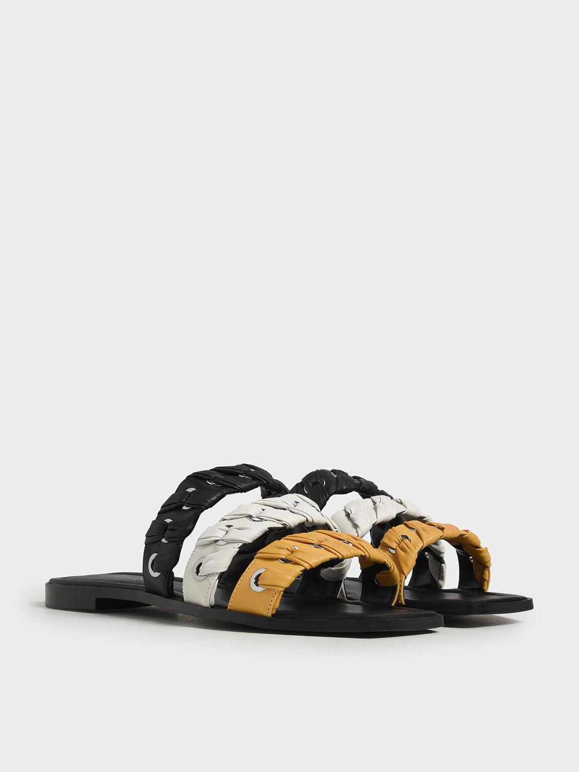 Weave Detail Leather Slide Sandals, Multi, hi-res
