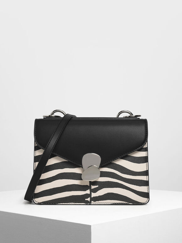 Zebra Print Metal Push Lock Front Flap Bag, Multi, hi-res