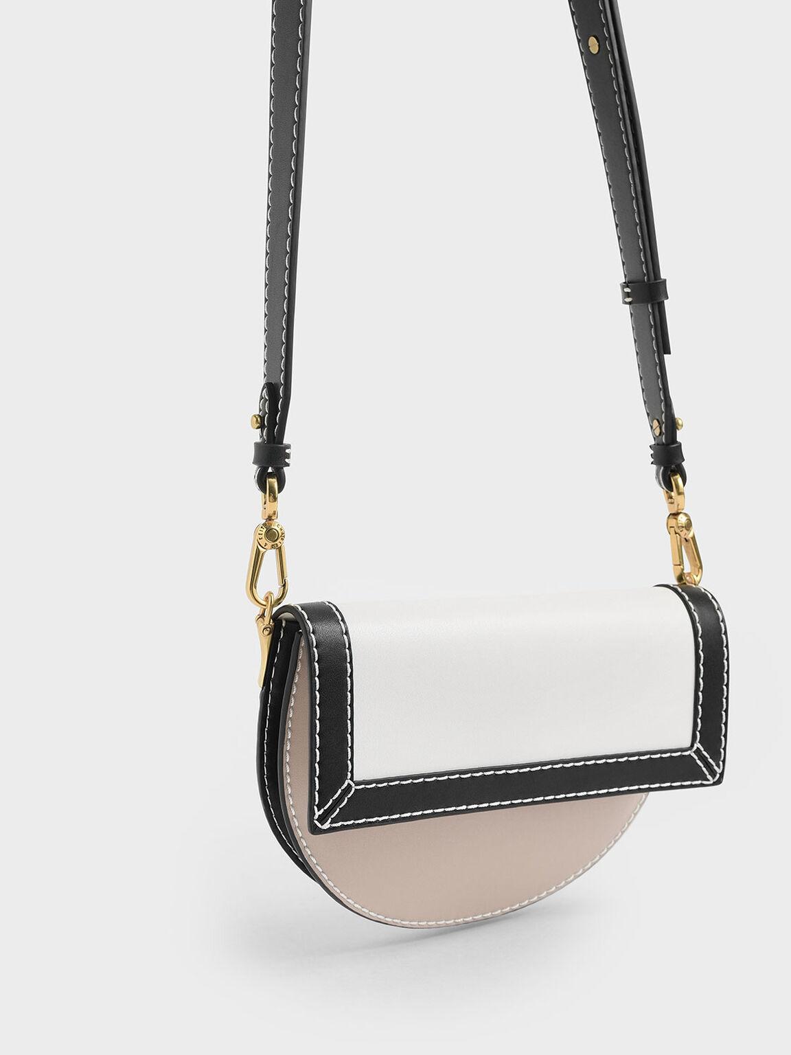 Two-Tone Front Flap Semi-Circle Crossbody Bag, Multi, hi-res
